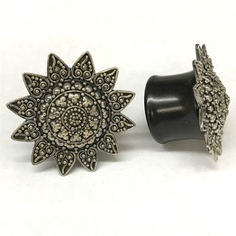 "7/8"" Black Dogwood Plugs with Ornate Silver"