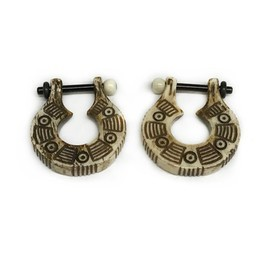 12g Antiqued Bone Stirrups with Black Water Buffalo Horn Posts