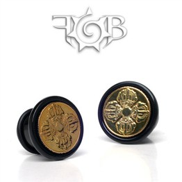 Black Buffalo Horn Cap Style Plugs with Inlayed Bhutanese Coin