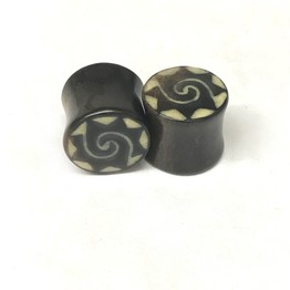 Black Dogwood Plugs with Coconut Dust Inlay - Style 7A
