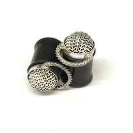Black Dogwood Plugs with Ornate Silver Woven Done Pattern