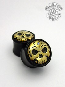 Black Horn Tibetan Skull Plugs with Brass Skull Inlay and Gem Accent