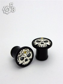Black Horn Tibetan Skull Plugs with Silver Skull Inlay and 14k Gold Accent
