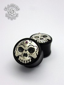 Black Horn Tibetan Skull Plugs with Silver Skull Inlay and Gem Accent
