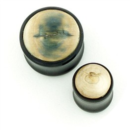 Black Water Buffalo Horn Plugs with Fossilized Mammoth Tusk