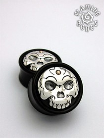 Black Wood Tibetan Skull Plugs with Silver Skull Inlay and 14k Gold Accent