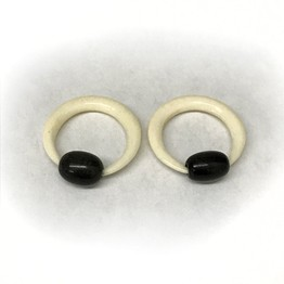 Bone Captive Rings with Oval Horn Beads