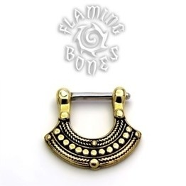 Brass Septum Klikr with Surgical Steel Post - Filigree Fan - Uchiwa