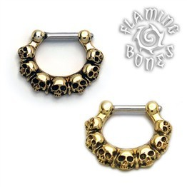 Brass Septum Klikr with Surgical Steel Post - Ancient Remains