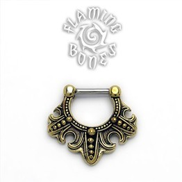 Brass Septum Klikr with Surgical Steel Post - Fleur