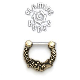 Brass Septum Klikr with Surgical Steel Post - Ouroboros Dragon