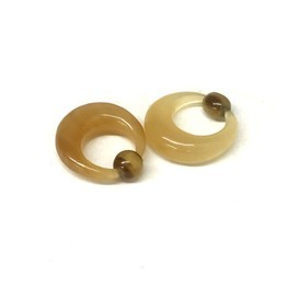 Captive Bead Rings in Golden Water Buffalo Horn