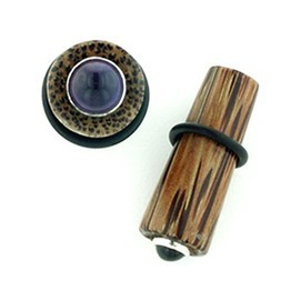 "5/8"" Coconut Wood Long Tapered Plugs with Silver and Gem Inlay"
