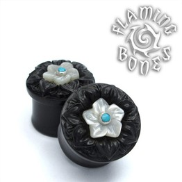 Collectors Series Black Wood Flower Power - Mother of Pearl White Blossom