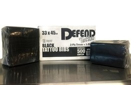 Defend Brand Black Dental Bibs/Lap Cloths - Case of 500