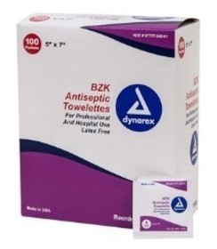 Dynarex BZK Antiseptic Towelettes - Box of 100