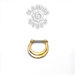 Gold Plated Septum Klikr with Surgical Steel Post - Layered Crescent
