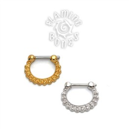 Gold Plated Sterling Silver Septum Klikr with Surgical Steel Post - Radian