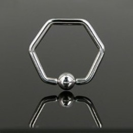Hexagon Shaped Captive Bead Ring
