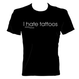 'I hate tattoos' T-Shirt by Line Art
