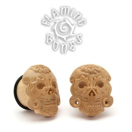 Javanese Coffee Wood Day of The Dead Mask Plugs