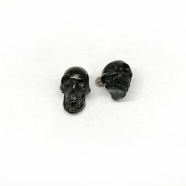 Russian Jet (Lignite) Black Threaded End Skull for Internally Threaded Body Jewelry