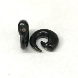 Short Spirals in Black Water Buffalo Horn with Silver Accent