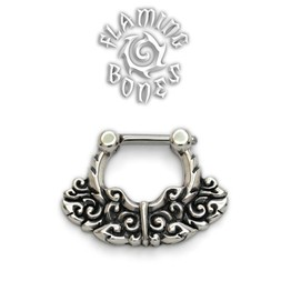 Sterling Silver Septum Klikr with Finely Detailed Floral Pattern and Surgical Steel Post - Chantri