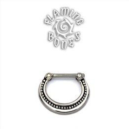Sterling Silver Septum Klikr with Surgical Steel Post - Filigree Crescent