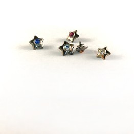 Sterling Silver Star Threaded End with Gem Inlay