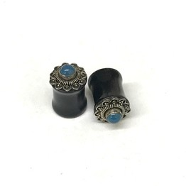 "7/16"" Traditional Black Water Buffalo Horn Balinese Plugs with Silver and Blue Agate Gem"