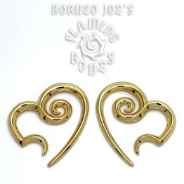 "Yellow Gold Plated ""Whirlwind Heart"" Spirals"