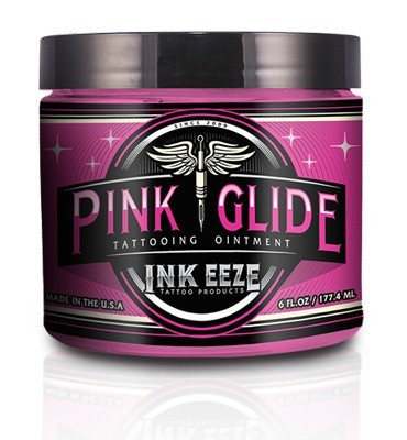 INK-EEZE Pink Glide Tattoo Ointment - 6oz Jar