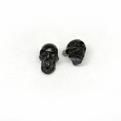 Dermal Tops Russian Jet Lignite Black Threaded End Skull For Internally Body Jewelry