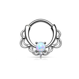 White 16g Septum Clicker - Lacey Single Opal