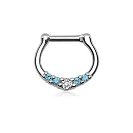 16g Septum Clicker - with Five Small Aqua and Clear Gems